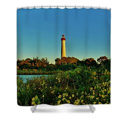 Cape May Lighthouse Above The Flowers Shower Curtain