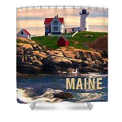 Cape Neddick Lighthouse Maine  At Sunset  Shower Curtain by Elaine Plesser