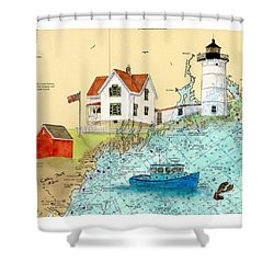 Cape Neddick Lighthouse Me Nautical Chart Map Art Cathy Peek Shower Curtain by Cathy Peek