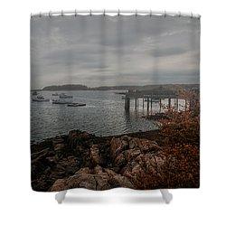 Cape Porpoise Fog Rolls In Shower Curtain by Bob Orsillo