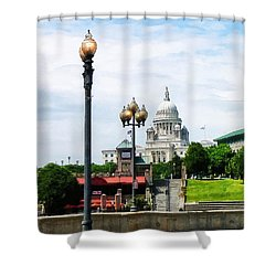 Capitol Building Seen From Waterplace Park Shower Curtain by Susan Savad