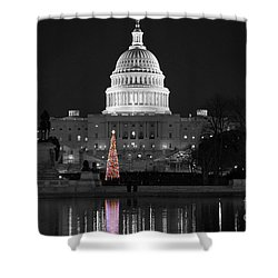 Capitol Christmas Shower Curtain by Shawn O'Brien