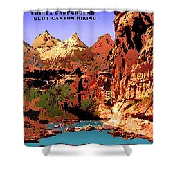 Capitol Reef National Park Vintage Poster Shower Curtain by Eric Glaser