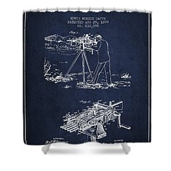 Capps Machine Gun Patent Drawing From 1899 - Navy Blue Shower Curtain by Aged Pixel