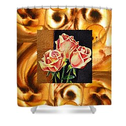 Cappuccino Abstract Collage French Roses Shower Curtain by Irina Sztukowski