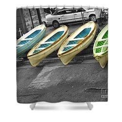 Capri Italy Aqua Green Boats Shower Curtain
