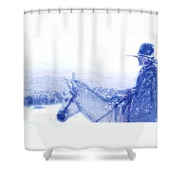 Capt. Call In A Snowstorm Shower Curtain by Seth Weaver