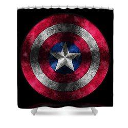 Captain America Shield Shower Curtain by Georgeta Blanaru