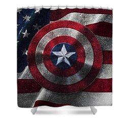 Captain America Shield On Usa Flag Shower Curtain by Georgeta Blanaru