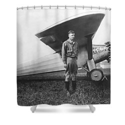Captain Charles Lindbergh Shower Curtain by Underwood Archives
