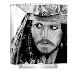 Captain Jack Sparrow Shower Curtain by Kayleigh Semeniuk