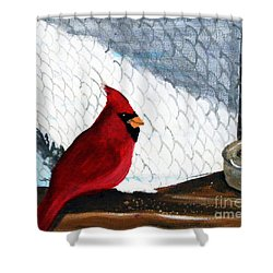 Cardinal In The Dogpound Shower Curtain by Barbara Griffin