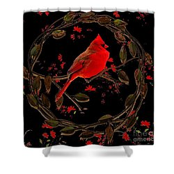 Cardinal On Metal Wreath Shower Curtain