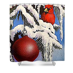 Cardinal One Ball Shower Curtain by Darren Robinson