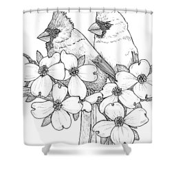 Cardinals And Dogwoods Shower Curtain