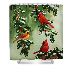 Cardinals And Holly - Version With Snow Shower Curtain by Crista Forest