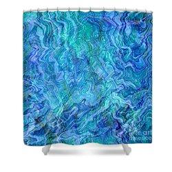 Caribbean Blue Abstract Shower Curtain by Carol Groenen