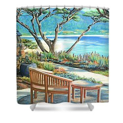 Shower Curtain featuring the painting Carmel Lagoon View by Jane Girardot
