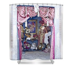 Shower Curtain featuring the digital art Carnevale Shop In Venice Italy by Victoria Harrington