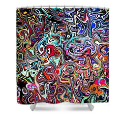 Shower Curtain featuring the digital art Carnival An Abstract Modern Contemporary Digital Art by Annie Zeno