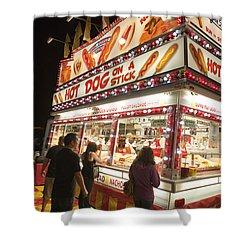 Carnival Hot Dog On A Stick Shower Curtain by Jason O Watson