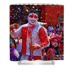 Shower Curtain featuring the photograph Carnival Man At The Day Of The Crazies Parade by John  Kolenberg