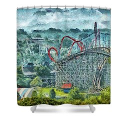 Carnival - The Thrill Ride Shower Curtain by Mike Savad