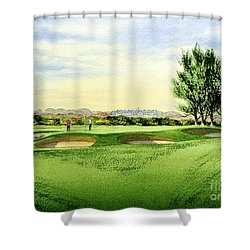 Shower Curtain featuring the painting Carnoustie Golf Course 13th Green by Bill Holkham