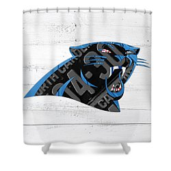 Carolina Panthers Football Team Retro Logo Recycled North Carolina License Plate Art Shower Curtain by Design Turnpike