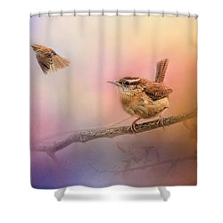 Carolina Wrens Shower Curtain