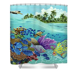 Coral Carnival Shower Curtain by Carolyn Steele
