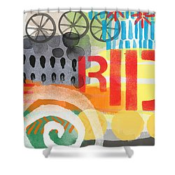 Carousel #6 Ride- Contemporary Abstract Art Shower Curtain