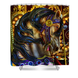 Carousel Beauty Waiting For A Rider Shower Curtain by Bob Christopher