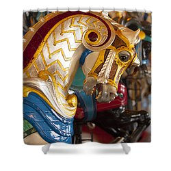 Colorful Carousel Merry-go-round Horse Shower Curtain by Jerry Cowart