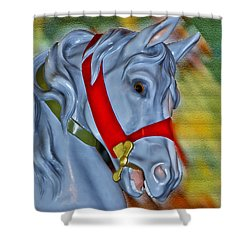 Carousel Horse Red Bridle Shower Curtain by Thomas Woolworth
