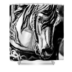 Carousel Horse Two - Bw Shower Curtain