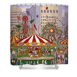 Carousel In City Park Shower Curtain by Linda Mears