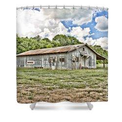 Carpenter Building Shower Curtain by Scott Pellegrin