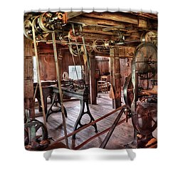 Carpenter - This Old Shop Shower Curtain by Mike Savad
