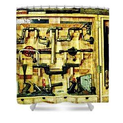 Carpenter - Woodworking Tools Shower Curtain by Susan Savad