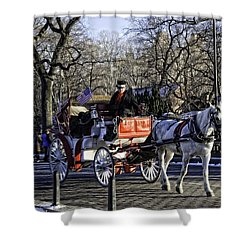 Carriage Driver - Central Park - Nyc Shower Curtain by Madeline Ellis