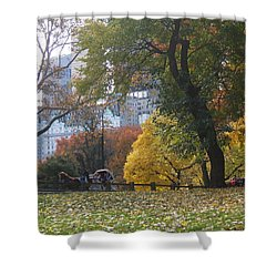 Shower Curtain featuring the photograph Carriage Ride Central Park In Autumn by Barbara McDevitt