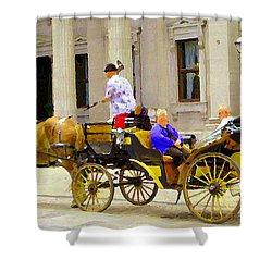 Carriage Ride On Cobblestones Rue Notre Dame Tan Horse Golden Caleche Old Port Quebec Scene Cspandau Shower Curtain by Carole Spandau