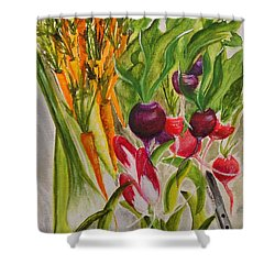 Carrots And Radishes Shower Curtain by Jamie Frier