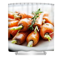 Carrots Shower Curtain by Kati Molin