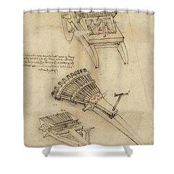 Cart And Weapons From Atlantic Codex Shower Curtain by Leonardo Da Vinci