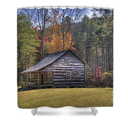 Carter-shields Cabin Shower Curtain by Crystal Nederman