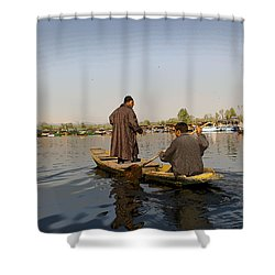 Cartoon - Kashmiri Men Plying A Wooden Boat In The Dal Lake In Srinagar Shower Curtain