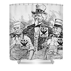 Cartoon Depicting The Impact Of Franklin D Roosevelt  Shower Curtain by American School