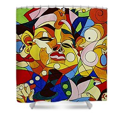 Cartoon Painting With Hidden Pictures Shower Curtain